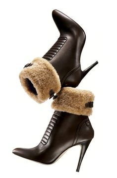 "MANOLO BLAHNIK Dark brown bulgaro leather ""Luggina"" ankle boot with shearling trim, $1,345"