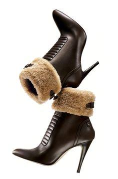 "MANOLO BLAHNIK  Dark brown bulgaro leather ""Luggina"" ankle boot with shearling trim, $1,345"