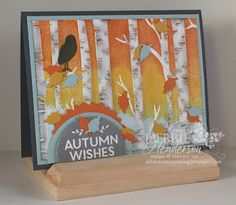 handmade Autumn card from Debbie's Designs ... luv how she used the birch trees embossing folder ... brayered bright Fall colors right onto the embossing folder ... wonderful card! ... Stampin' Up!