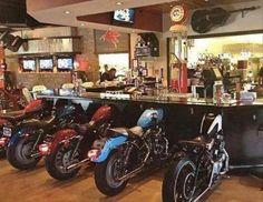 WOW a man cave bar with motorcycles for seats. Or bar ideA! Car Part Art, Biker Bar, Man Cave Accessories, Car Part Furniture, Diy Furniture, Furniture Design, Reclaimed Furniture, Furniture Vintage, Handmade Furniture