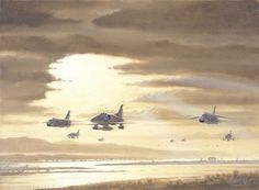 USN A4 Skyhawks F8 Crusaders by Bill Northup Fine Art Print