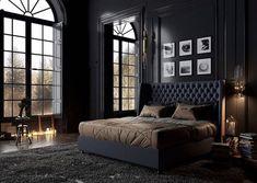 Elegant And Comfortable Black Bedroom Designs and Decorations For Cool Men's - Bedroom Men's Bedroom Design, Home Decor Bedroom, Bedroom Furniture, Black Rooms, Bedroom Black, Black Beds, Bedroom Small, Black Room Decor, Bedroom Boys