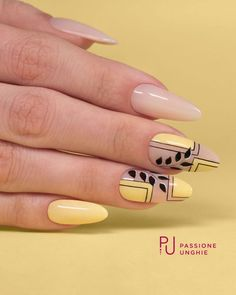 Yellow and nude leaf geometric nail art design for Spring summer.💛🎯💛 - Yellow and nude leaf geometric nail art design for Spring summer.💛🎯💛 Yellow and nude leaf geometric nail art design for Spring summer. Spring Nail Art, Spring Nails, Summer Nails, Yellow Nails Design, Yellow Nail Art, Nail Selection, Geometric Nail Art, Latest Nail Art, Cute Nail Designs