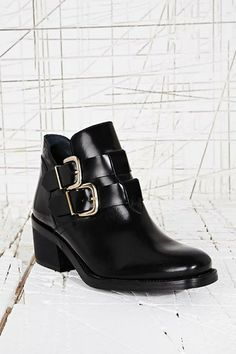 Miista Luna Buckle Cut Out Boots in Black at Urban Outfitters
