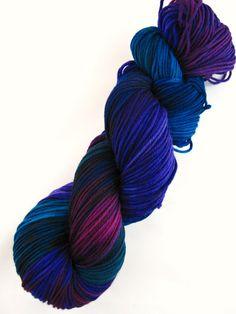 hand painted superwash merino yarn by WeeChickadeeWoolery via Etsy