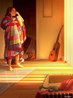 Yaoyao Ma Van As, cane, Yaoyao Ma Van As illustrazioni, Yaoyao Ma Van As illustration, Yaoyao Ma Van As living with a dog Cartoon Kunst, Cartoon Art, Character Art, Character Design, Alone Art, Illustration Art, Illustrations, Living Alone, Anime Art Girl