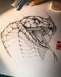 Psdelux is a pencil sketch artist based in Tatabánya, Hungary. He usually draws animal sketches. Psdelux also makes digital drawings. Pencil Art Drawings, Art Drawings Sketches, Tattoo Sketches, Tattoo Drawings, Cool Drawings, Snake Drawing, Snake Art, Snake Sketch, Drawing Art