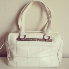 Chanel Quilted Satchel in White Pre-loved, excellent condition. CHANEL Bags Satchels