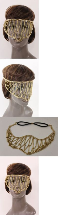 Hair and Head Jewelry 110620: New Women Gold Metal Head Chain Links Eye Cover Half Face Mask Fashion Jewelry BUY IT NOW ONLY: $44.99