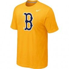 Wholesale Men Boston Red Sox Heathered Blended Short Sleeve Yellow T-Shirt_Boston Red Sox T-Shirt