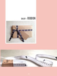 D.I.Y. and decorate your package and gifts with the ribbon of kiem. Here a gift is stylish packet with ribbon: Traveler. Dark gray with a white Traveler. | www.kiem-wayoflife.com
