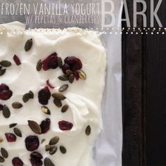 Genius! Frozen Greek Yogurt Bark with Pepitas & Dried Cranberries via Edible Life NYC #summer #snackattack