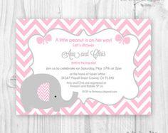 Elephant baby shower girl Invitation Printable por ceremoniaGlam