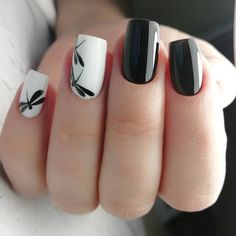 Elegant Black And White Nail Art Designs You Need To Try; Elegant Black And White Nail Art Designs; Elegant Black And White Nail; Black And White Nail; Black And White Nail Art Designs; Nagel Stamping, White Nail Art, Black White Nails, Black And White Nail Designs, White Art, Nagellack Trends, Nail Polish, Nail Nail, Nail Swag