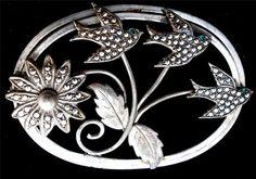 Sterling Silver Emerald Marcasite Three Bird Flower Vintage 11 5 grams Brooch   eBay