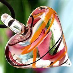 Pink Black Lampwork Glass Murano Heart Pendant Necklace