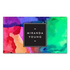 Vibrant watercolors - multi-color business card template - a fun design for artists, crafters, stylists, or anyone!