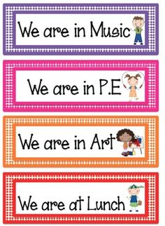 These labels can be used to create a poster that shows others where your class is when you leave the classroom.