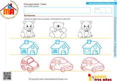 Actividad a realizar: Colorea los objetos que son iguales o semejantes en cada nivel. Ficha de comunicación integral para educación infantil 3 años: Semejanzas