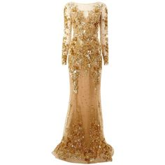 Zuhair Murad Embroidered Long Train Gown ($14,347) ❤ liked on Polyvore featuring dresses, gowns, metallic, long evening dresses, long flared skirt, metallic dress, long circle skirt and metallic skater skirt