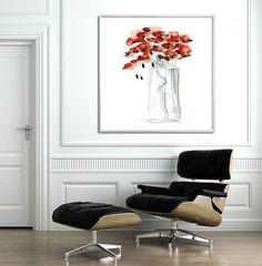 GICLEE PRINT of red poppy large abstract painting, modern Painting, Abstract Art, Express shipping, red, black home decor