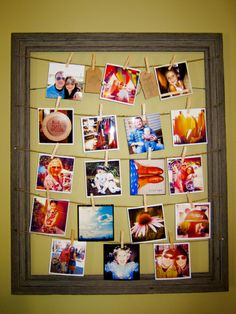 DIY frame photo with 4X4 prints- Would be a cute way to display pictures of all my kiddos. :)