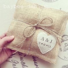 BURLAP RING BEARER Pillow by baybeedahlboutique on Etsy, $23.99 #burlap_weddings #burlap_wedding #burlap #custom_ring_bearer_pillow
