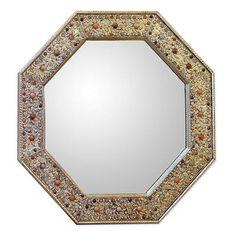 UNICEF Market | Nickel On Brass Glass Inlay Wall Mirror 23x23 In - Elegance