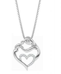 #Mom and #Baby #Diamond #Heart #Pendant