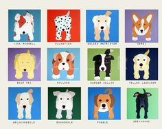 Puppy Dog nursery art for kids. Baby nursery decor childrens prints. 11x14 Dog prints. Kids art. Dog lover Childrens art by WallFry via Etsy