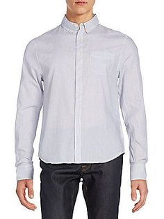 Joe's Relaxed-Fit Cotton Sportshirt - Blue - White - Size