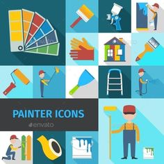 Painter Icons Set by macrovector Painter cartoon character man flat shadow pictograms set with pail brush and ladder abstract isolated vector illustration. Editabl