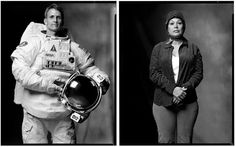 """Mark Laita - """"ASTRONAUT, AND AN ALIEN ABDUCTEE"""". (One photo in a series called """"Created Equal"""")... """"In America, the chasm between rich and poor is growing, the clash between conservatives and liberals is strengthening, and even good and evil seem more polarized than ever before. At the heart of this collection of diptychs, is my desire to remind us that we were all equal, until our environment, circumstances, or fate, molded and weathered us into whom we have become"""" ~ Mark Laita"""