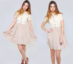 Vintage 70s BABYDOLL Mini Dress Taupe & Cream Retro Swing Dress by LotusvintageNY