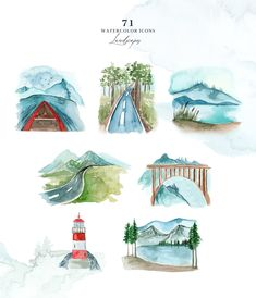 Wilderness A Visual Storytelling - Design Cuts Watercolor Map, Watercolor Background, Watercolor Landscape, Watercolor Paintings, Watercolor Design, Watercolors, Fun Illustration, Illustrations, Watercolor Illustration