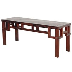 Ming Style Bench  China  19th Century  Chinese elmwood flat top bench with angular, square cornered apron and straight legs with fluted carving.  Price  $950  Condition*  Excellent  Measurements  height: 18.5 in.  depth: 15 in.  width/length: 45 in.  Specifications  Number of items: 1  Materials/Techniques: Elmwood  Creator: unknown