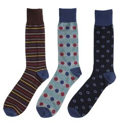 Soxmile Mens Big and Tall Fashion Crew Socks - Dots and Stripes 3pack - http://soxmile.com/portfolio-view/soxmile-mens-big-tall-fashion-crew-socks-dots-stripes-3pack/