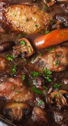 "This Coq Au Vin (French for ""Chicken in Wine"") is one of those dishes that is good enough to serve for a fancy dinner! The rich taste in this wonderful dish comes from the quality ingredients and a few spices artfully put together. No chef skills required French Dinner Parties, Dinner Party Menu, Dinner Party Recipes Main, Dinner Party Main Course, Chefs, Cena Paleo, Cassoulet, French Dishes, Le Diner"