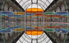 """blouinartinfo: """" The Telegraph has a beautiful slide show of photos from the new Daniel Buren installation in Paris's Grand Palais for Monumenta """"Excentrique(s). Anish Kapoor, Anselm Kiefer, Richard Serra, Daniel Buren, Famous Art, Grand Palais, Action Painting, French Artists, Conceptual Art"""