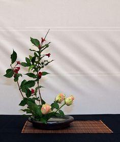 upright ikebana - rose and weigela