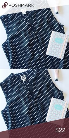 Anne Klein sleeveless black & white polka dot top Casual and perfect for work, imagine it tucked into your choice of pants with a cute cardigan over top. This top is 100% polyester and in like new condition! Anne Klein Tops Blouses