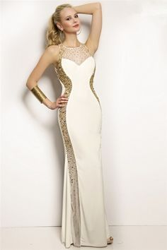 Tight Fitted Scoop Neck Open Back White Jersey Gold Beaded Long Evening Prom Dress