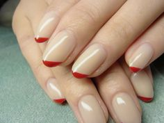 red tips with nude nails