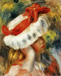 Young Girl with a Hat -  Pierre Auguste Renoir - circa 1895
