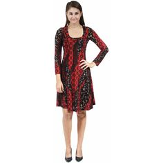 24/7 Comfort Apparel Women's Fall Leaves Dress (Print-1XL) ($28) ❤ liked on Polyvore featuring dresses, black, long sleeve a line dress, 3/4 sleeve dress, long sleeve short dress, mini dress and short sleeve dress