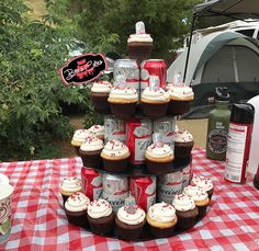 Beer cupcakes and beer cupcake stand