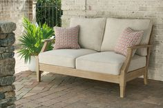 Clare View Outdoor Loveseat with Cushion | Ashley Furniture HomeStore Sofa And Loveseat Set, Outdoor Loveseat, Outdoor Glider, Couch, Colorful Throw Pillows, Deck Furniture, Online Furniture Stores, Contemporary Sofa, Love Seat