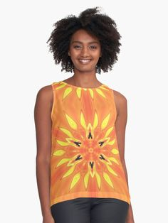 An intricate Fire star pattern design. / While modern at first glance, it is based off of the mandala used in Eastern religions such as Hinduism and Buddhism. The mandala established a sacred place for meditation and represented harmony and unity. This design, with its brilliant colors, adds an enthusiastic and energetic touch to any home, wardrobe, etc. • Millions of unique designs by independent artists. Find your thing.