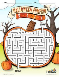 FREE Halloween Pumpkin Maze Puzzle - Halloween Puzzle - Spooky,