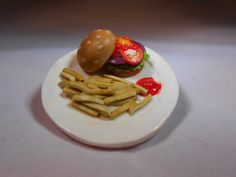Burger and Fries Brooch/Badge, Miniature Food, Fimo Polymer Clay on Etsy, $7.94